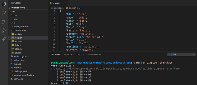 IDE Editor showing Simpleen CLI translate command