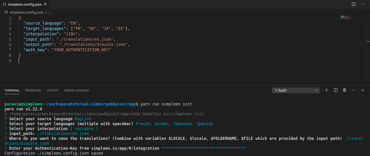IDE Editor showing Simpleen CLI config command